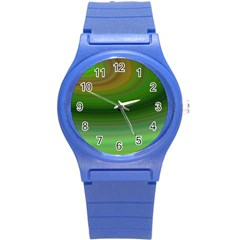 Green Background Elliptical Round Plastic Sport Watch (s)