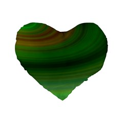 Green Background Elliptical Standard 16  Premium Heart Shape Cushions