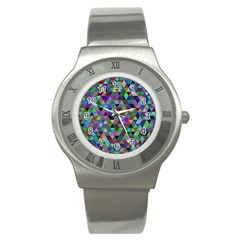 Triangle Tile Mosaic Pattern Stainless Steel Watch
