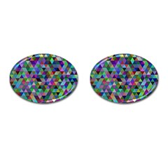 Triangle Tile Mosaic Pattern Cufflinks (oval)