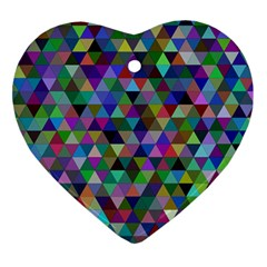 Triangle Tile Mosaic Pattern Heart Ornament (two Sides)