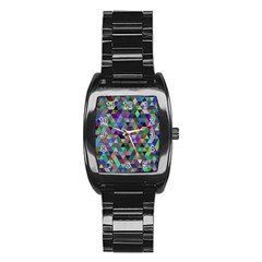 Triangle Tile Mosaic Pattern Stainless Steel Barrel Watch