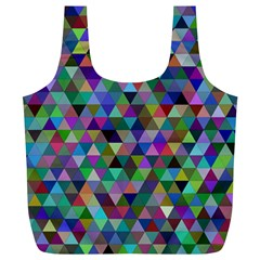 Triangle Tile Mosaic Pattern Full Print Recycle Bags (l)
