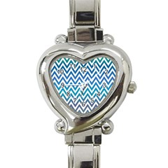 Blue Zig Zag Chevron Classic Pattern Heart Italian Charm Watch
