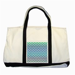 Blue Zig Zag Chevron Classic Pattern Two Tone Tote Bag