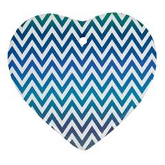 Blue Zig Zag Chevron Classic Pattern Heart Ornament (two Sides)