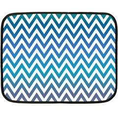 Blue Zig Zag Chevron Classic Pattern Double Sided Fleece Blanket (mini)