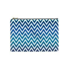 Blue Zig Zag Chevron Classic Pattern Cosmetic Bag (medium)