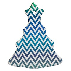 Blue Zig Zag Chevron Classic Pattern Christmas Tree Ornament (two Sides)