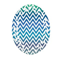 Blue Zig Zag Chevron Classic Pattern Oval Filigree Ornament (two Sides)