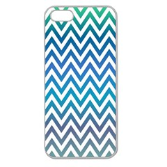 Blue Zig Zag Chevron Classic Pattern Apple Seamless Iphone 5 Case (clear)