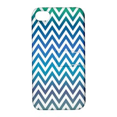 Blue Zig Zag Chevron Classic Pattern Apple Iphone 4/4s Hardshell Case With Stand