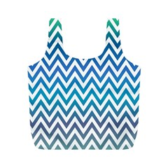 Blue Zig Zag Chevron Classic Pattern Full Print Recycle Bags (m)