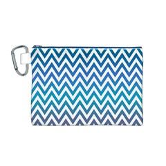 Blue Zig Zag Chevron Classic Pattern Canvas Cosmetic Bag (m)