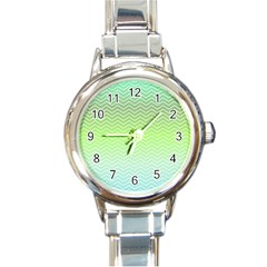 Green Line Zigzag Pattern Chevron Round Italian Charm Watch
