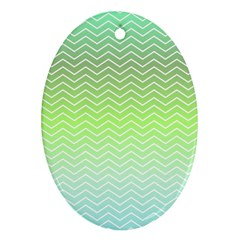 Green Line Zigzag Pattern Chevron Ornament (oval)