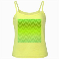 Green Line Zigzag Pattern Chevron Yellow Spaghetti Tank