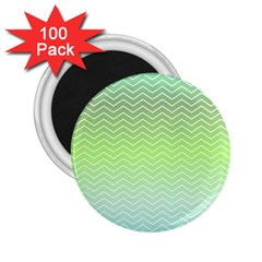 Green Line Zigzag Pattern Chevron 2 25  Magnets (100 Pack)