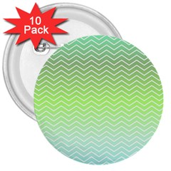 Green Line Zigzag Pattern Chevron 3  Buttons (10 Pack)