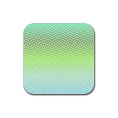 Green Line Zigzag Pattern Chevron Rubber Square Coaster (4 Pack)