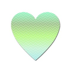 Green Line Zigzag Pattern Chevron Heart Magnet