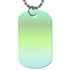 Green Line Zigzag Pattern Chevron Dog Tag (one Side)