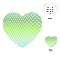 Green Line Zigzag Pattern Chevron Playing Cards (heart)