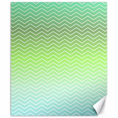 Green Line Zigzag Pattern Chevron Canvas 20  X 24