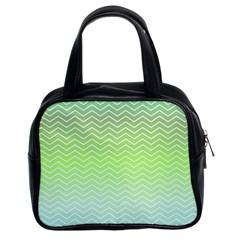 Green Line Zigzag Pattern Chevron Classic Handbags (2 Sides)
