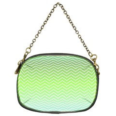 Green Line Zigzag Pattern Chevron Chain Purses (two Sides)