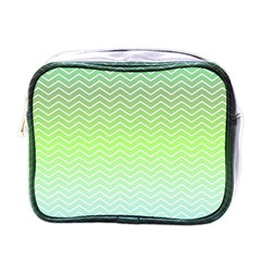 Green Line Zigzag Pattern Chevron Mini Toiletries Bags