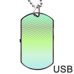 Green Line Zigzag Pattern Chevron Dog Tag Usb Flash (one Side)