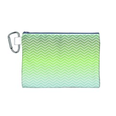 Green Line Zigzag Pattern Chevron Canvas Cosmetic Bag (m)