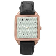 Vintage Pattern Chevron Rose Gold Leather Watch