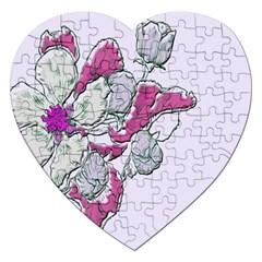 Bouquet Flowers Plant Purple Jigsaw Puzzle (heart)