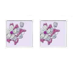 Bouquet Flowers Plant Purple Cufflinks (square)