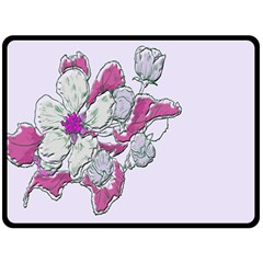 Bouquet Flowers Plant Purple Double Sided Fleece Blanket (large)