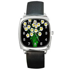 Bouquet Geese Flower Plant Blossom Square Metal Watch