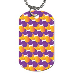 Pattern Background Purple Yellow Dog Tag (two Sides)