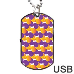 Pattern Background Purple Yellow Dog Tag Usb Flash (two Sides)