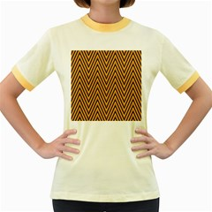 Chevron Brown Retro Vintage Women s Fitted Ringer T Shirts