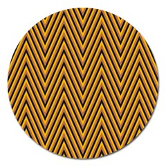 Chevron Brown Retro Vintage Magnet 5  (round)