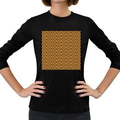 Chevron Brown Retro Vintage Women s Long Sleeve Dark T Shirts