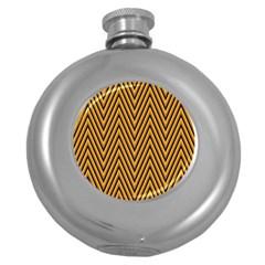 Chevron Brown Retro Vintage Round Hip Flask (5 Oz)