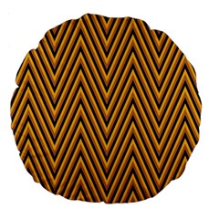 Chevron Brown Retro Vintage Large 18  Premium Round Cushions