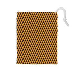 Chevron Brown Retro Vintage Drawstring Pouches (large)