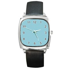 Blue Pattern Background Texture Square Metal Watch