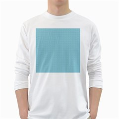 Blue Pattern Background Texture White Long Sleeve T Shirts