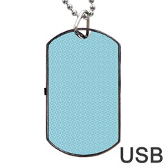 Blue Pattern Background Texture Dog Tag Usb Flash (two Sides)