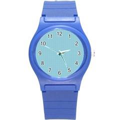 Blue Pattern Background Texture Round Plastic Sport Watch (s)